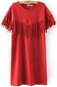 Red Short Sleeve Tassel Straight Dress