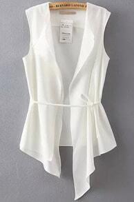 White Sleeveless Asymmetrical Slim Vest