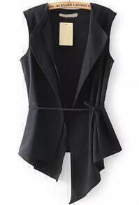 Black Sleeveless Asymmetrical Slim Vest