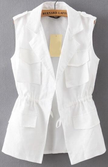 White Lapel Drawstring Waist Epaulet Vest