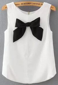 White Round Neck Bow Embellished Tank Top