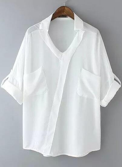 White Lapel Half Sleeve Pockets Blouse