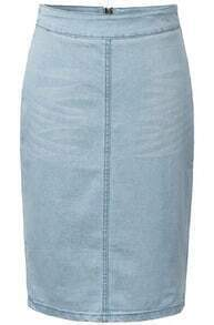 Blue Zipper Split Denim Skirt
