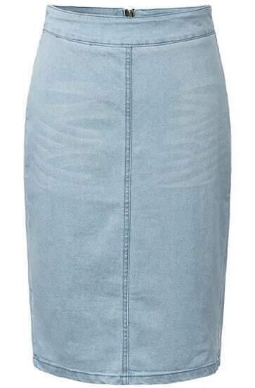 Синяя джинсовая юбка на молнии с разрезом