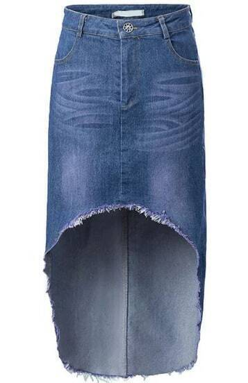 blue fringe high low denim skirt shein sheinside