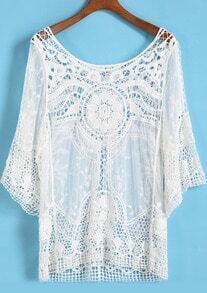 White Round Neck Hollow Floral Crochet Blouse