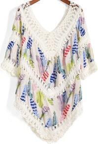 Multicolor V Neck Floral Crochet Feather Print Blouse