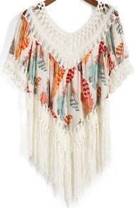 Orange Round Neck Feather Print Tassel Blouse