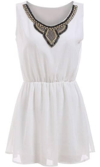 White Sleeveless Bead Slim Chiffon Dress