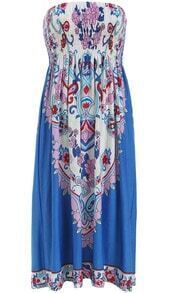 Blue Strapless Floral Pleated Dress
