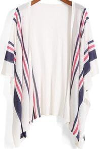 White Kimono Sleeve Striped Knit Cardigan