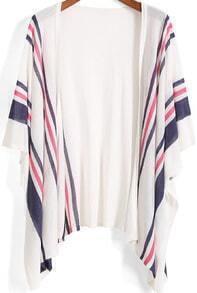 White Kimono Sleeve Striped Knit Cardigan