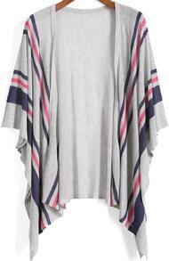 Grey Kimono Sleeve Striped Knit Cardigan