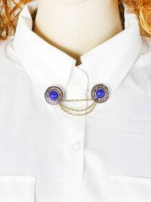Blue Gemstone Collar Tie Brooch