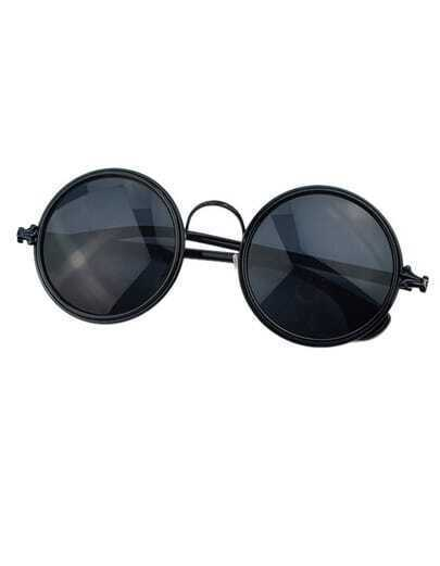 Black Rounded Fashion Sunglasses
