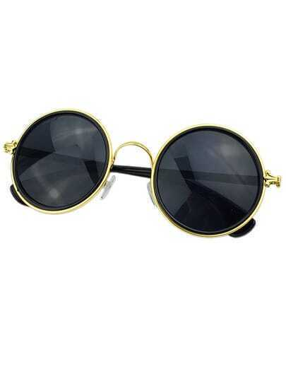 Gold Rounded Fashion Sunglasses