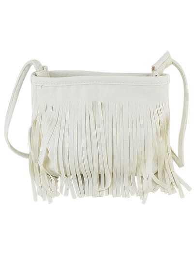 Bolso de moda PU flecos cuero -blanco
