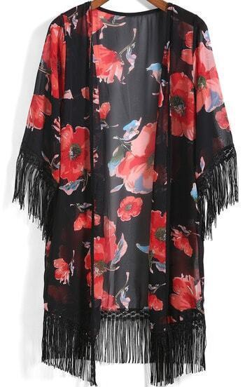 Black Floral Tassel Chiffon Kimono