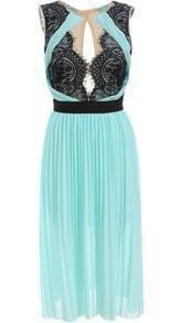 Green Sleeveless Lace Pleated Chiffon Dress