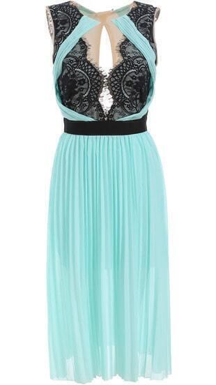 Green Sleeveless Lace Pleated Chiffon Dress