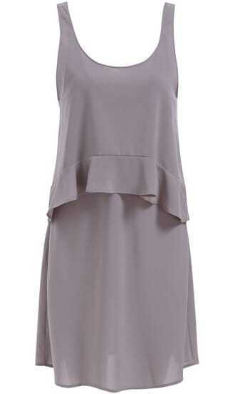 Grey Scoop Neck Sleeveless Ruffle Chiffon Dress
