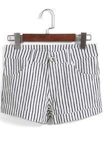 Black White Vertical Stripe Straight Shorts