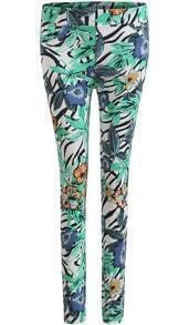 Green Skinny Elastic Floral Legging