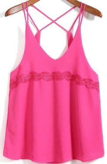 Rose Red Spaghetti Strap Lace Embellished Cami Top