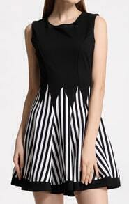Black Sleeveless Striped Flare Tank Dress