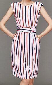 Multicolor Sleeveless Vertical Stripe Tie-Waist Dress