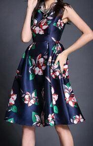 Navy Sleeveless Vintage Floral Flare Dress