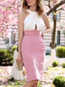 Pink White Buisness Sleeveless Color Block Dress