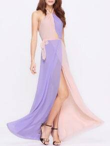 Purple Apricot Halter Color Block Maxi Dress