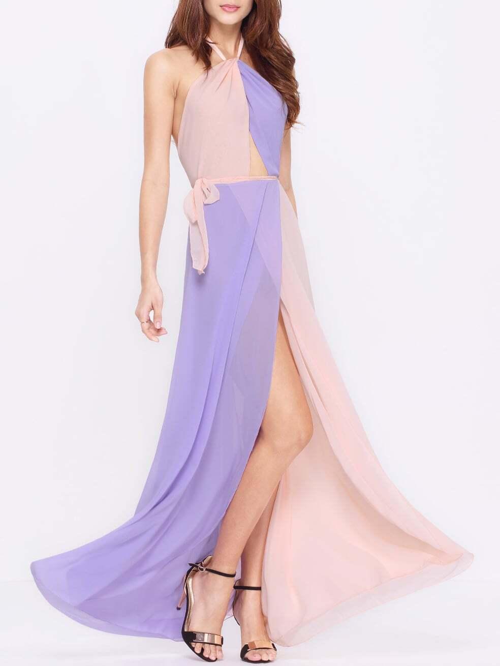 Purple Color Block Dresses