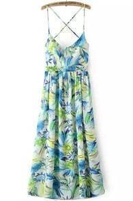 Green Spaghetti Strap Floral Pleated Dress