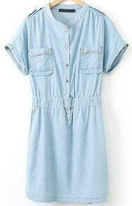 Blue Stand Collar Epaulet Pockets Denim Dress
