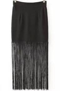 Black Tassel Bodycon Skirt