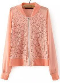 Pink Stand Collar Lace Crop Jacket