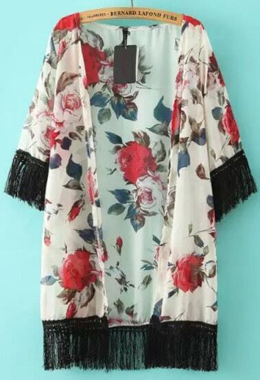 White Tassel Red Floral Loose Kimono
