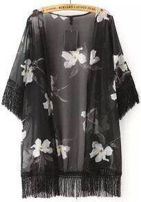 Black Tassel White Floral Loose Kimono