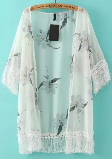White Tassel White Floral Loose Kimono