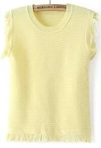 Yellow Sleeveless Fringe Slim Knit Sweater