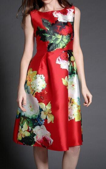 Red Sleeveless Vintage Floral Slim Flare Dress
