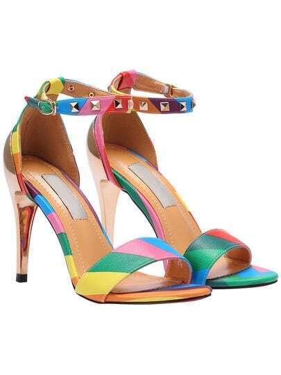 Multicolor Rivet Ankle Strap Sandals