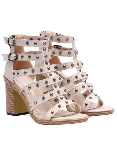 Beige High Heel Bead Sandals