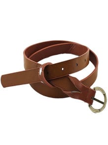 Brown Long Thin PU Leather Waist Belt
