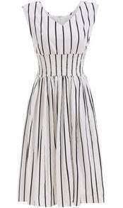White V Neck Sleeveless Vertical Stripe Dress