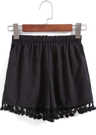 Black Elastic Waist Tassel Shorts