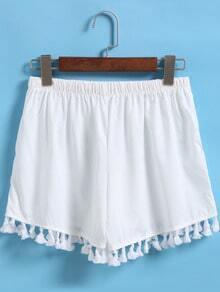 White Elastic Waist Tassel Shorts