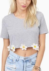 Grey Short Sleeve Flowers Embellished Crop T-Shirt